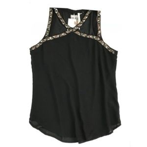 Nordstrom Bellatrix Embellished Black Top Size M